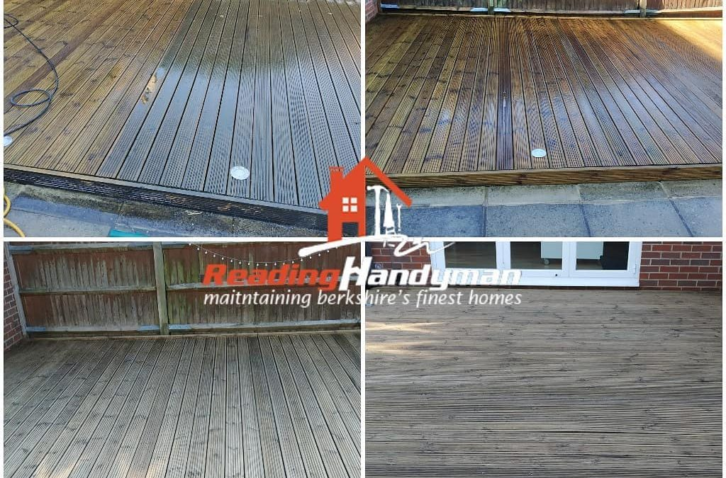 Extremely slippery decking washed and stained