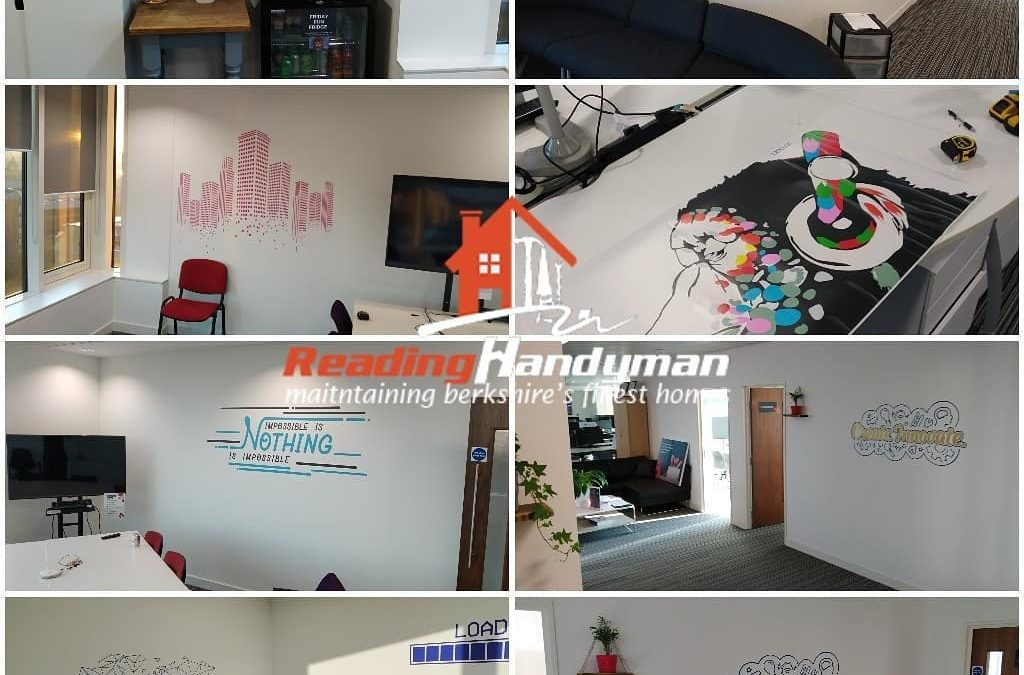 Vinyl graphics installation and office beautification