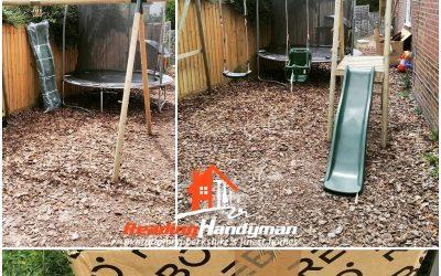 Rebo Odyssey Wooden Swing Set with Platform and Slide assembled in Caversham