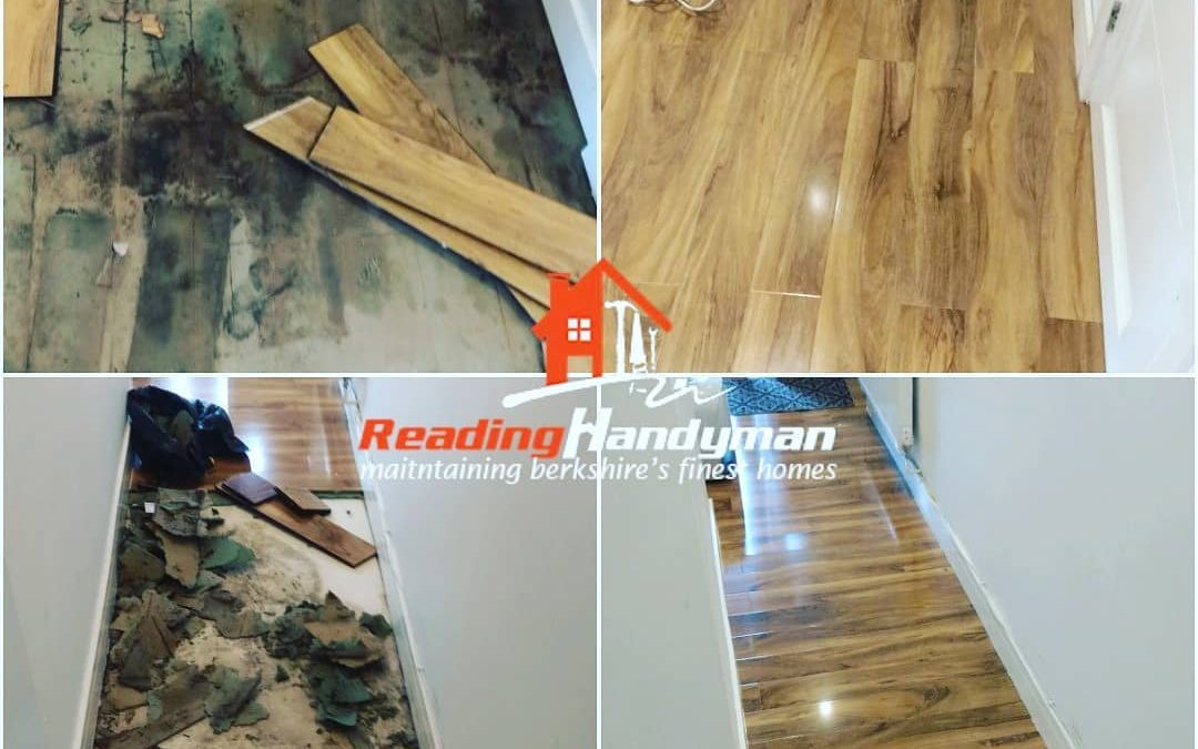 Water damaged floor replaced after 2 weeks of drying