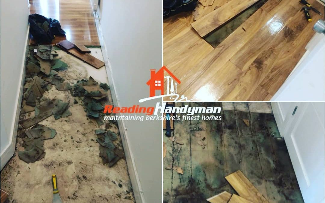 Water damaged wooden flooring repairs in Caversham