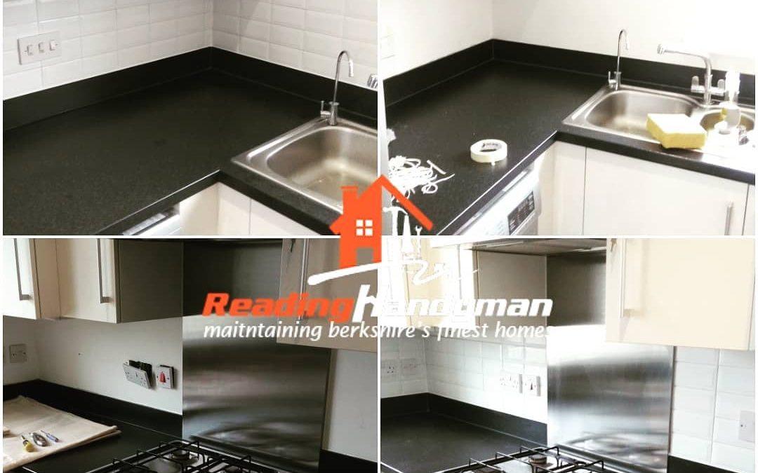 Kitchen splashback tiling job in Caversham