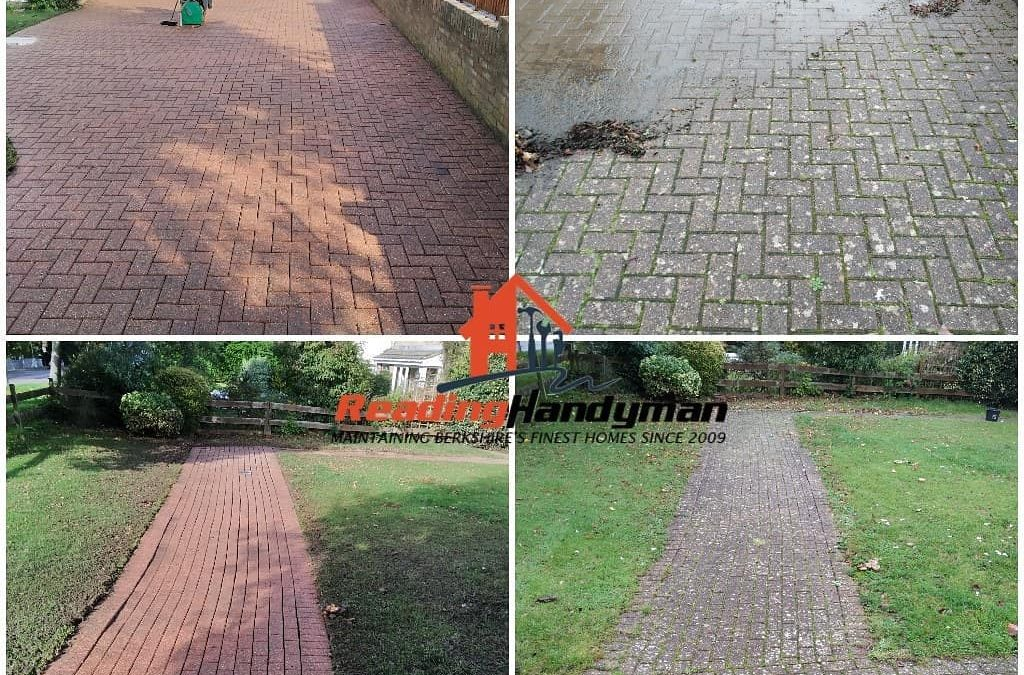 Driveway and footpath pressure washed in Tilehurst