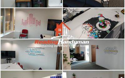 Vinyl graphics installation and office beautification