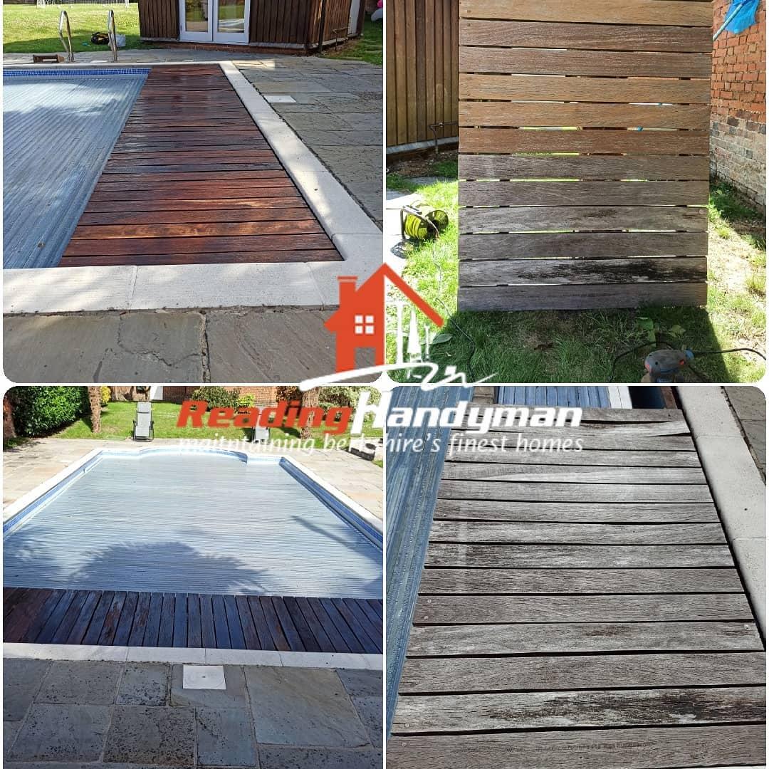 Pool platform pressure washed, sanded and varnished in Sonning