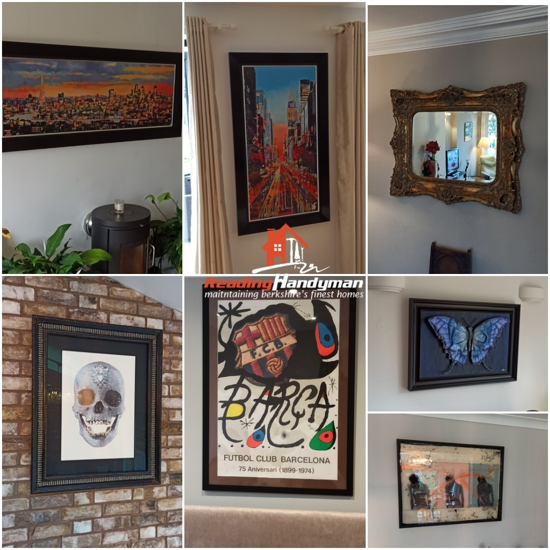 Some cool art pieces and mirrors we get to hang for our clients