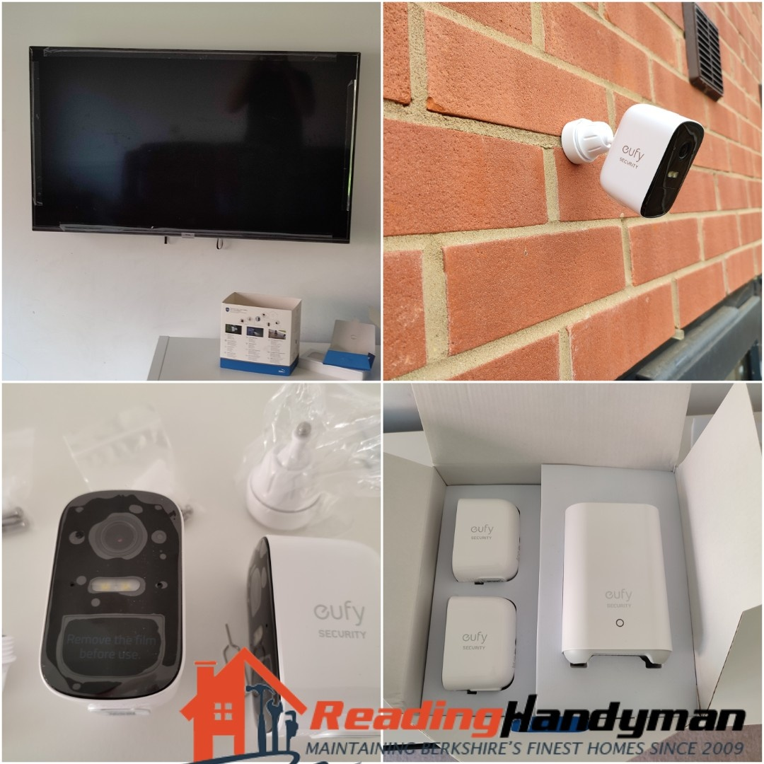 TV mounted and Eufy cameras installed in Reading