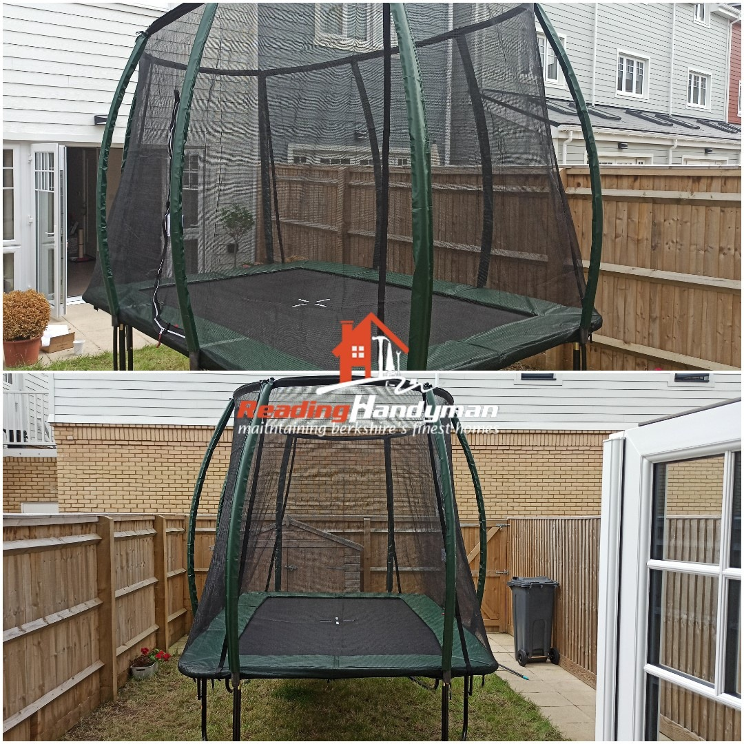 Monster trampoline assembled in Green Park Village, Reading